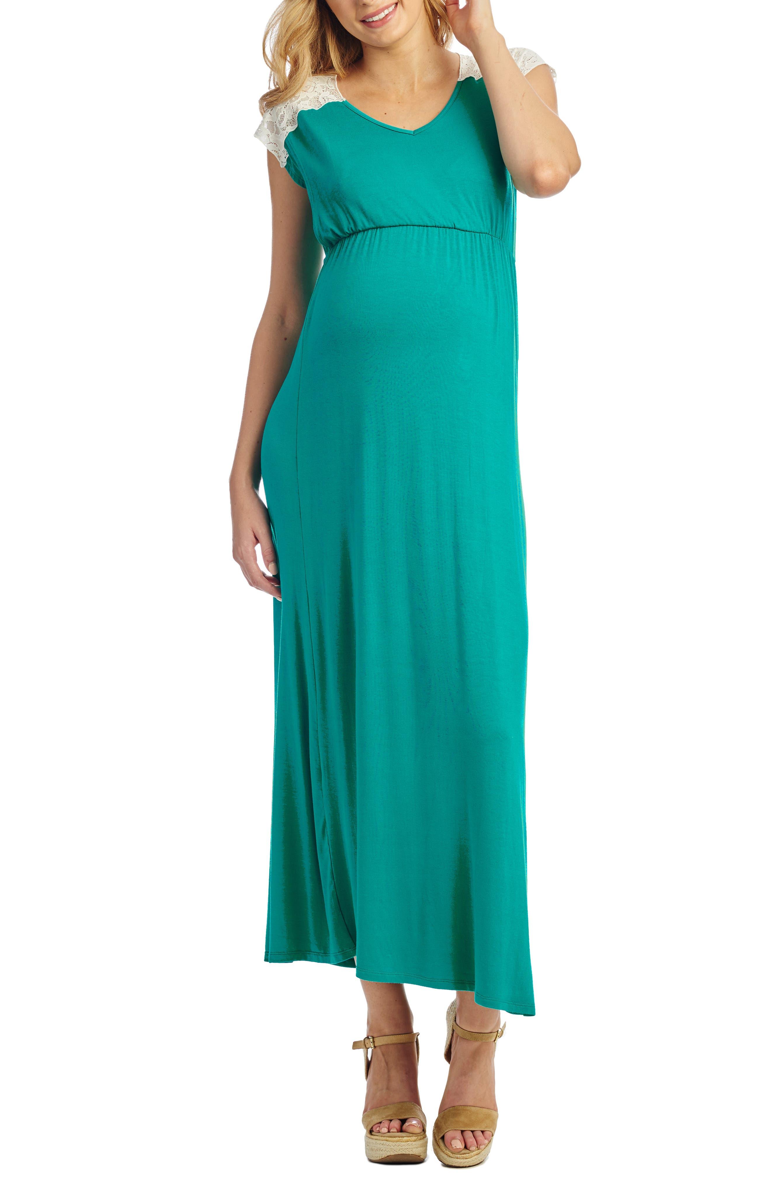 Everly Grey Margaret Maternity/nursing Maxi Dress, Green