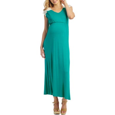 Everly Grey Margaret Maternity/nursing Maxi Dress, Green