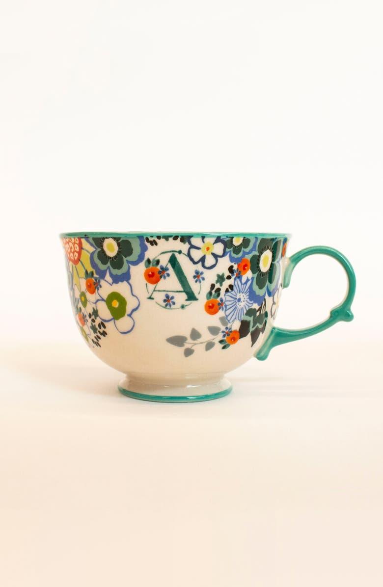 ANTHROPOLOGIE HOME Anthropologie Tea Time Monogram Mug, Main, color, 100