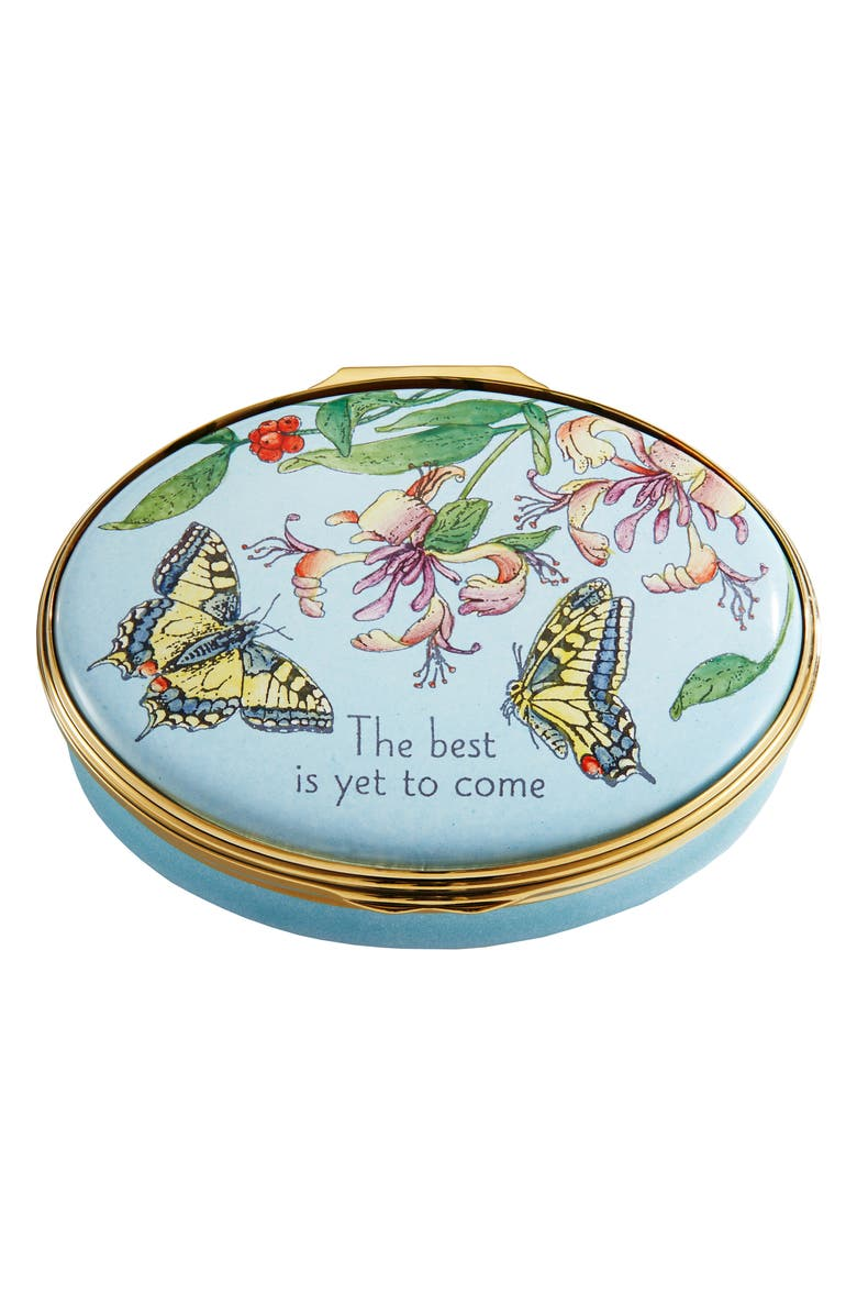 HALCYON DAYS The Best Is Yet to Come Enamel Box, Main, color, BLUE