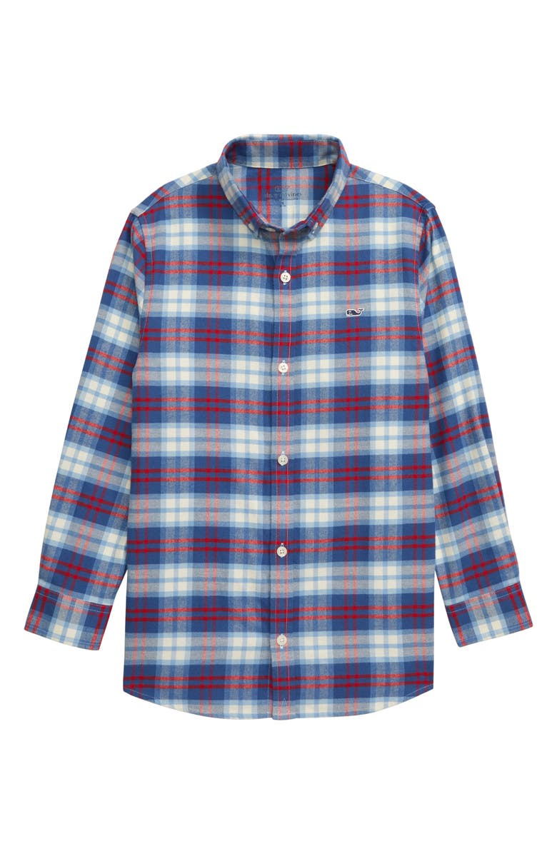 VINEYARD VINES Classic Plaid Flannel Whale Shirt, Main, color, MOONSHINE