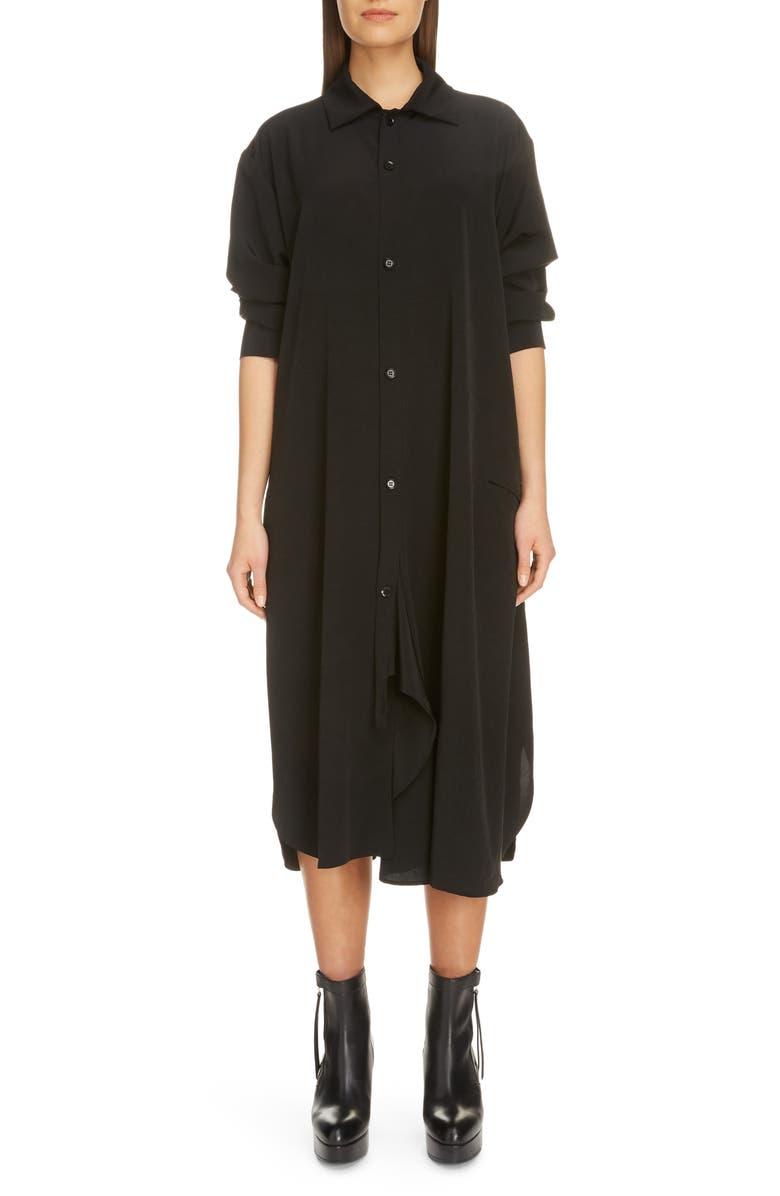 Y'S BY YOHJI YAMAMOTO Long Sleeve Midi Shirtdress, Main, color, BLACK