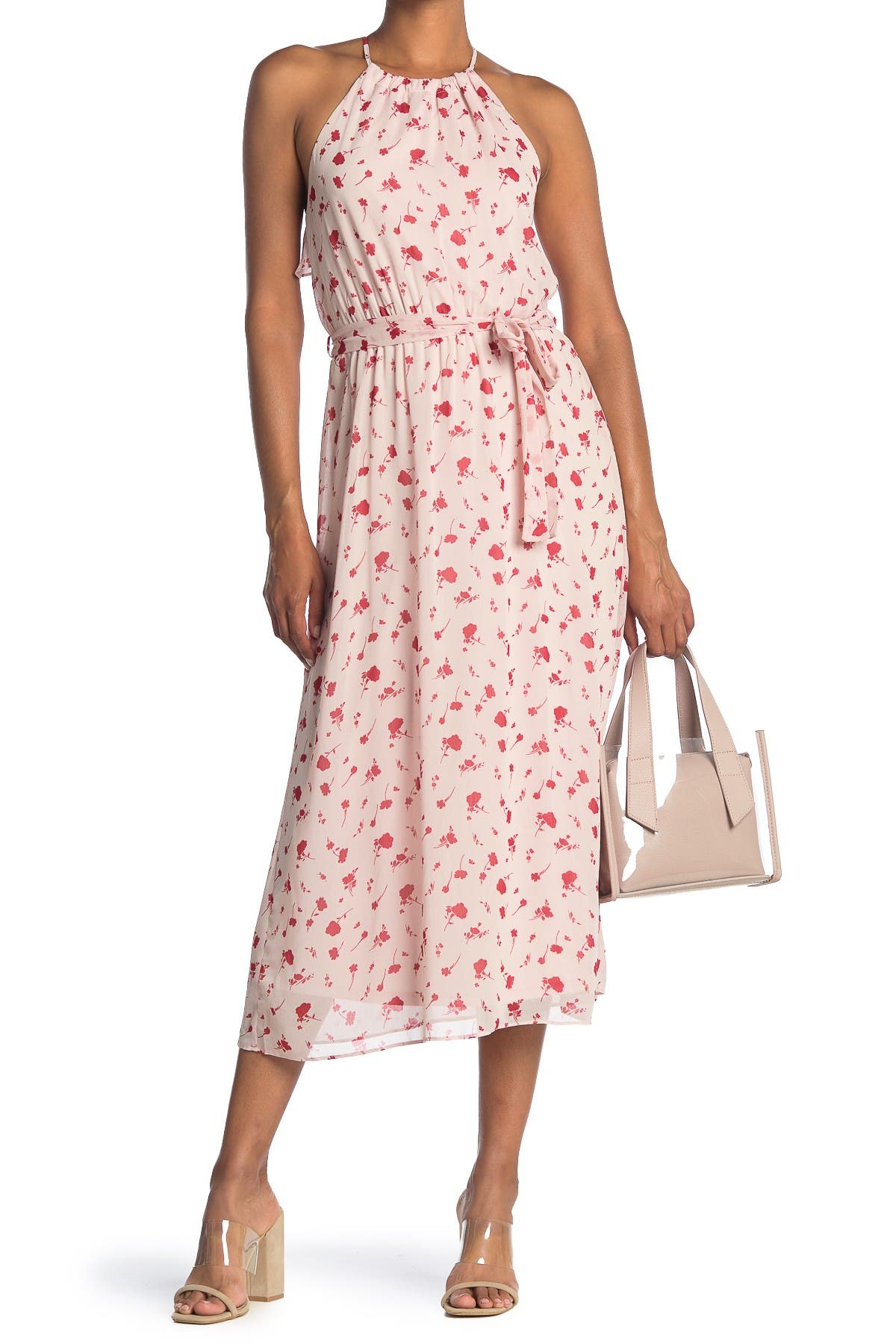 Image of Lush Floral Print Waist Tie Ruffle Back Midi Dress