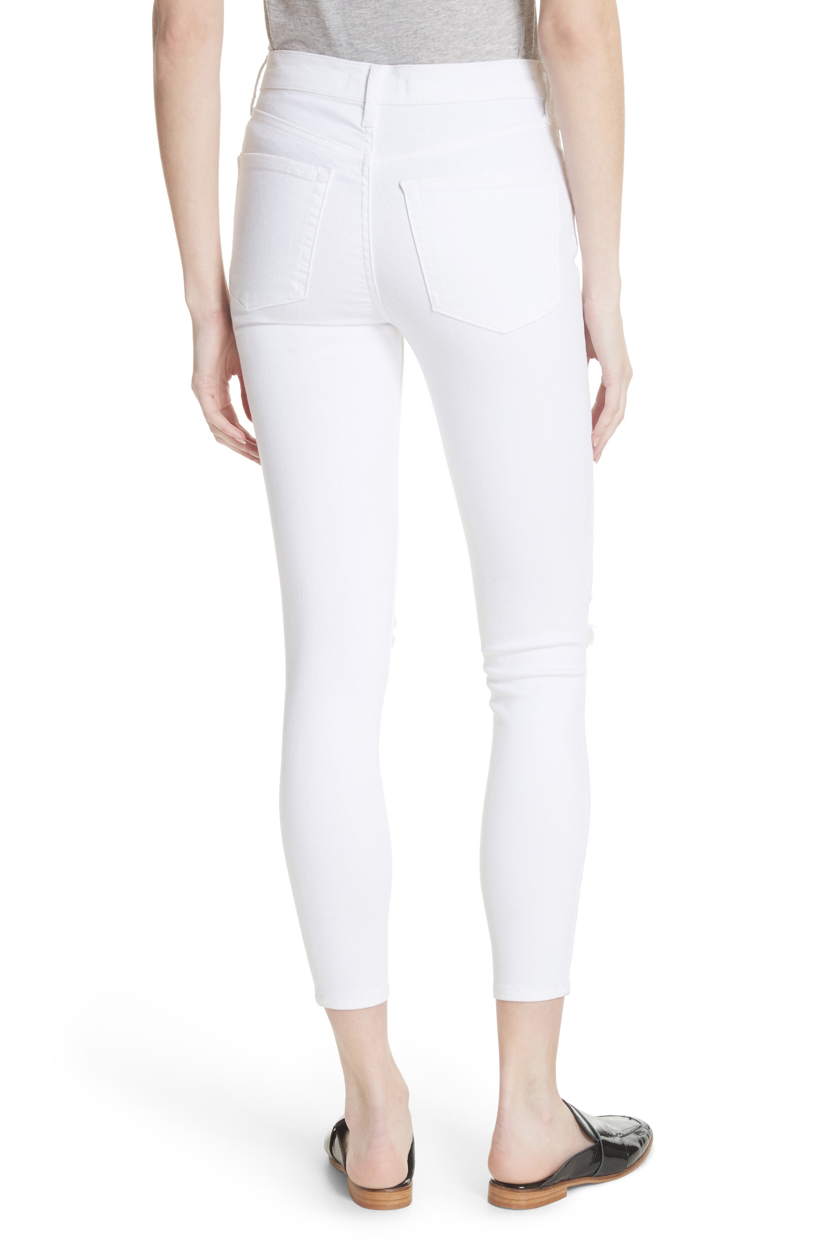 ,                             We the Free by Free People High Waist Busted Knee Skinny Jeans,                             Alternate thumbnail 2, color,                             WHITE