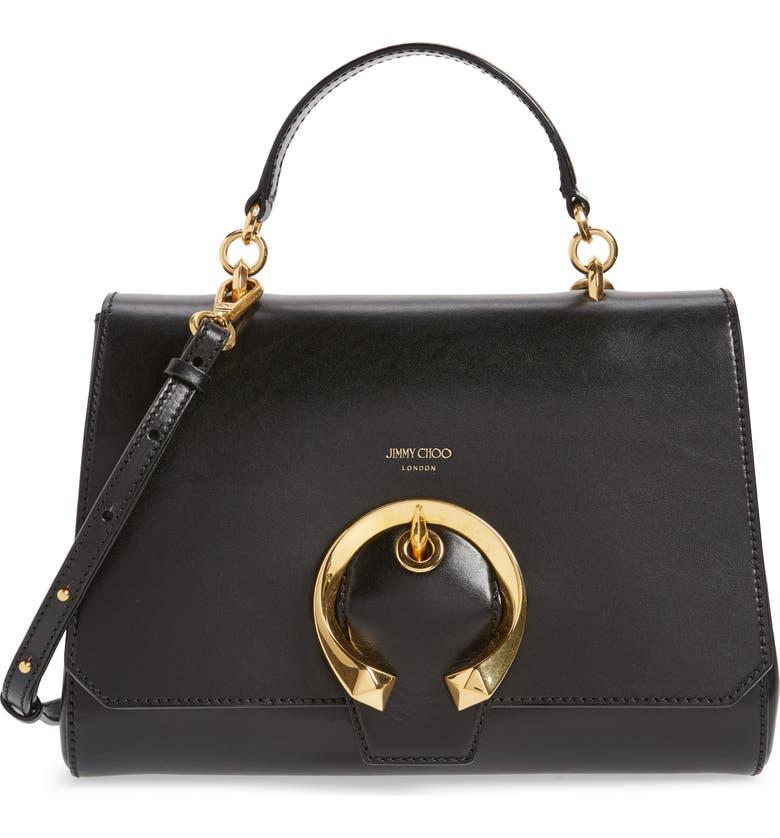 JIMMY CHOO Madeline Leather Top Handle Bag, Main, color, 001