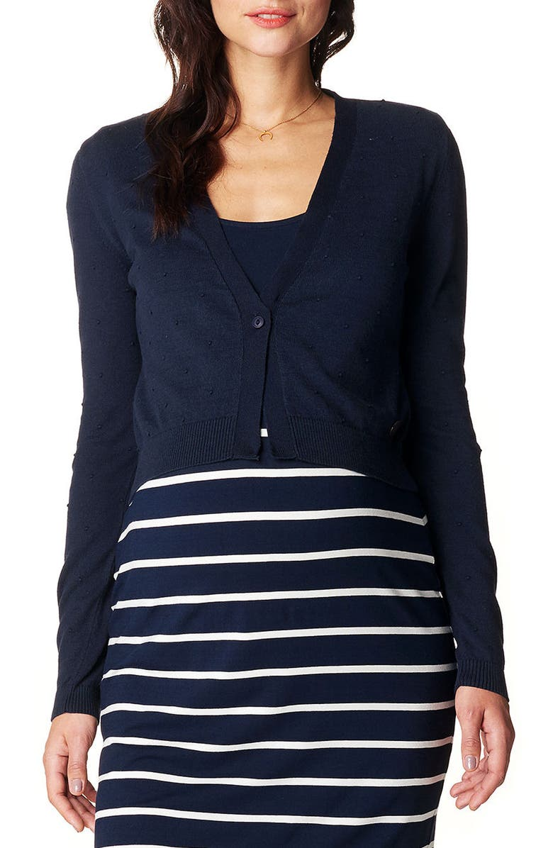 NOPPIES Lori Knit Crop Maternity Cardigan, Main, color, BLUE