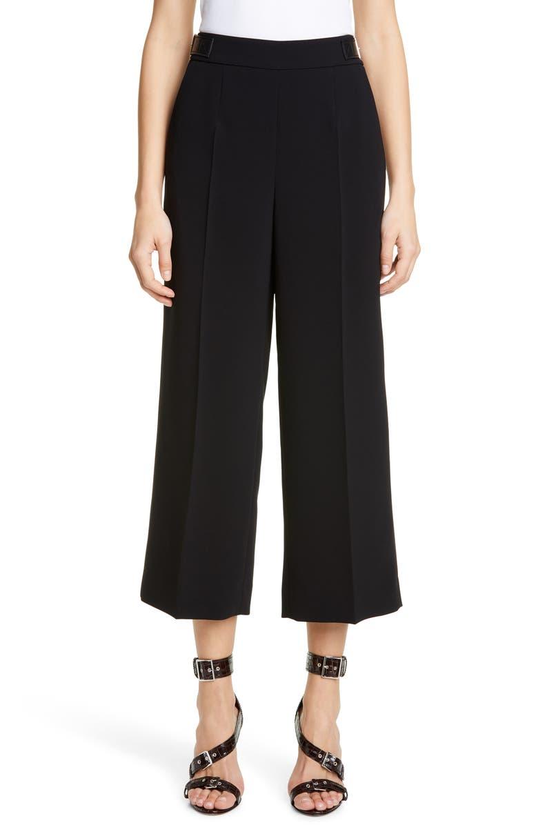 ALTUZARRA Leather Waist Detail Crop Pants, Main, color, BLACK