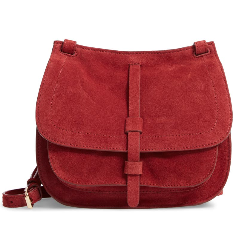 LEITH Suede Crossbody Saddle Bag, Main, color, 805