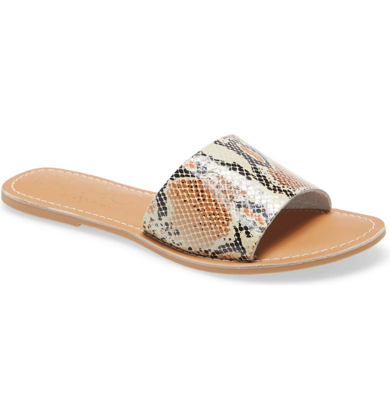 BEACH BY MATISSE Coconuts by Matisse Cabana Slide Sandal, Main, color, WHITE SNAKE PRINT LEATHER
