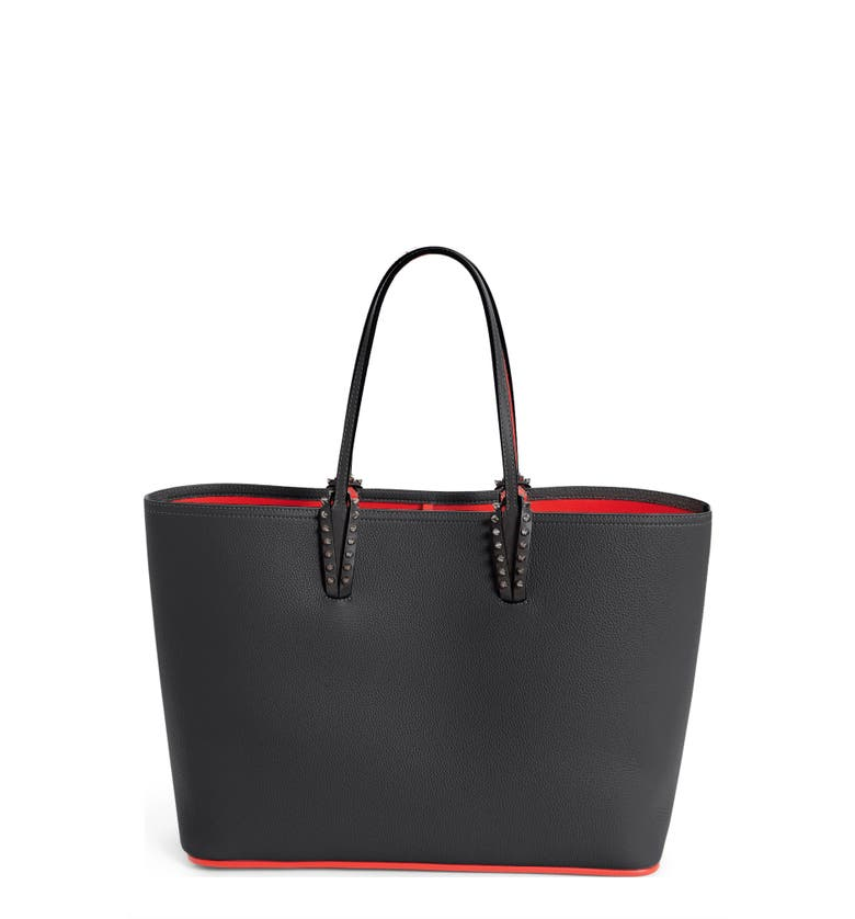 CHRISTIAN LOUBOUTIN Cabata Calfskin Leather Tote, Main, color, BLACK/BLACK