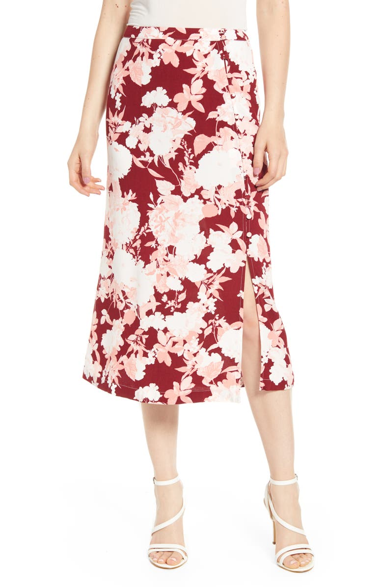 CHELSEA28 Floral Print Midi Skirt, Main, color, RED RUMBA BOLD FLORAL