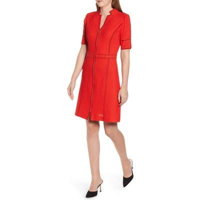 Ming Wang Textured Knit Sheath Dress, Red