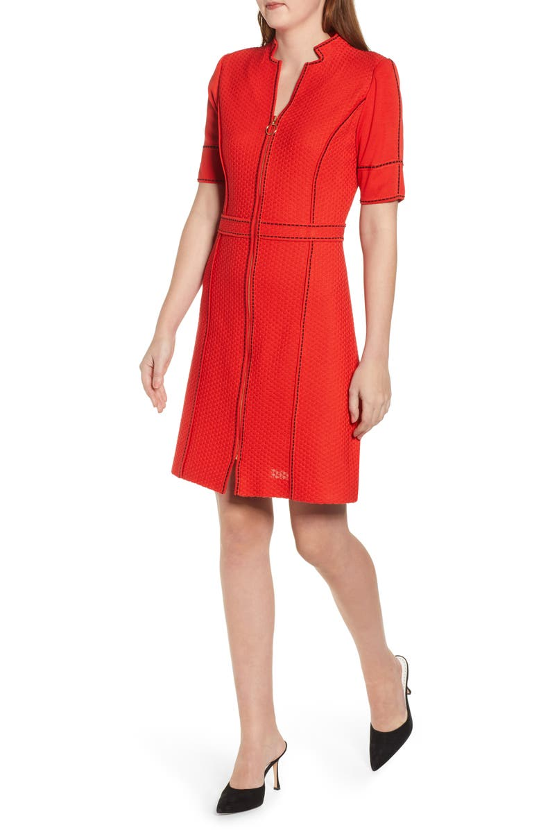 MING WANG Textured Knit Sheath Dress, Main, color, POPPY RED