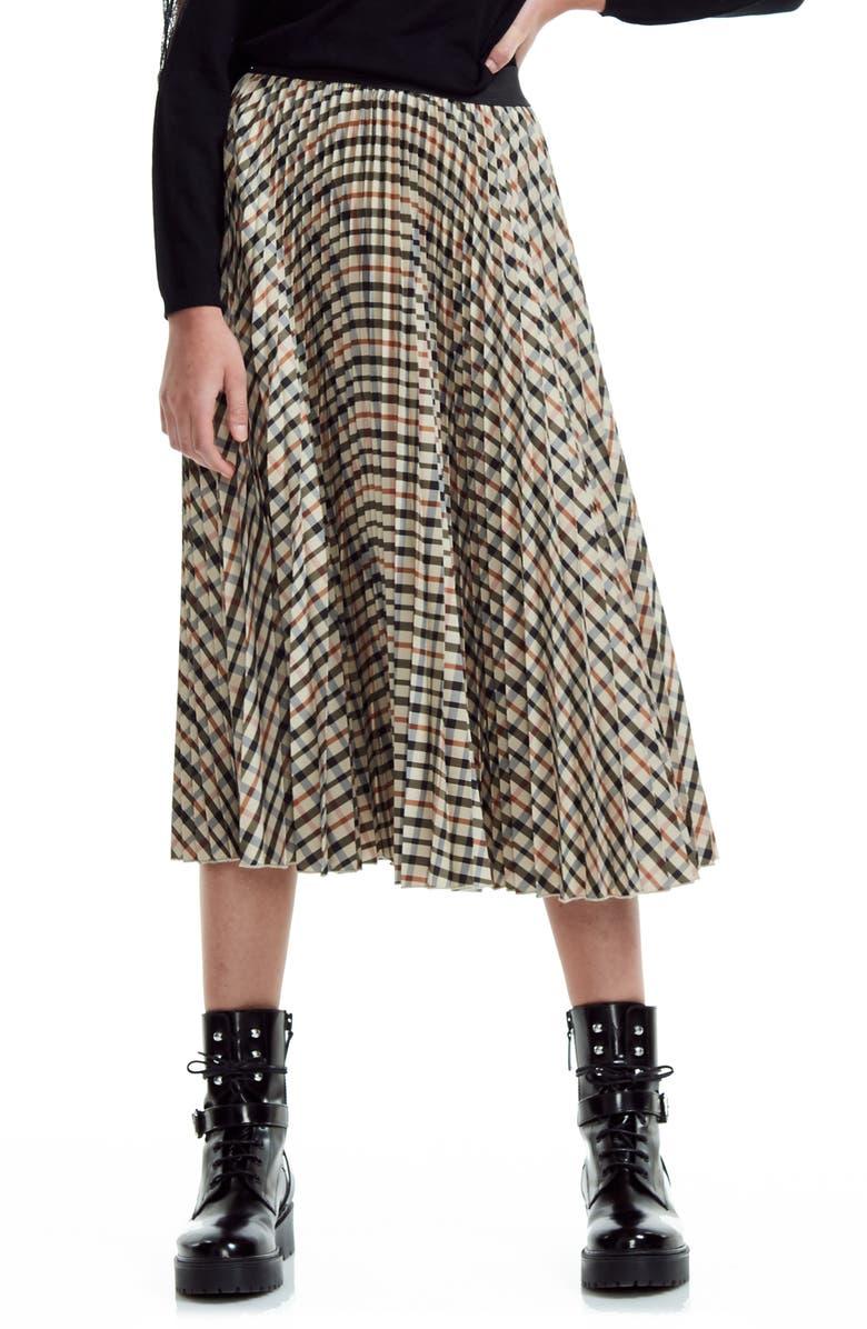 MAJE Johnny Check Pleated Midi Skirt, Main, color, BROWN
