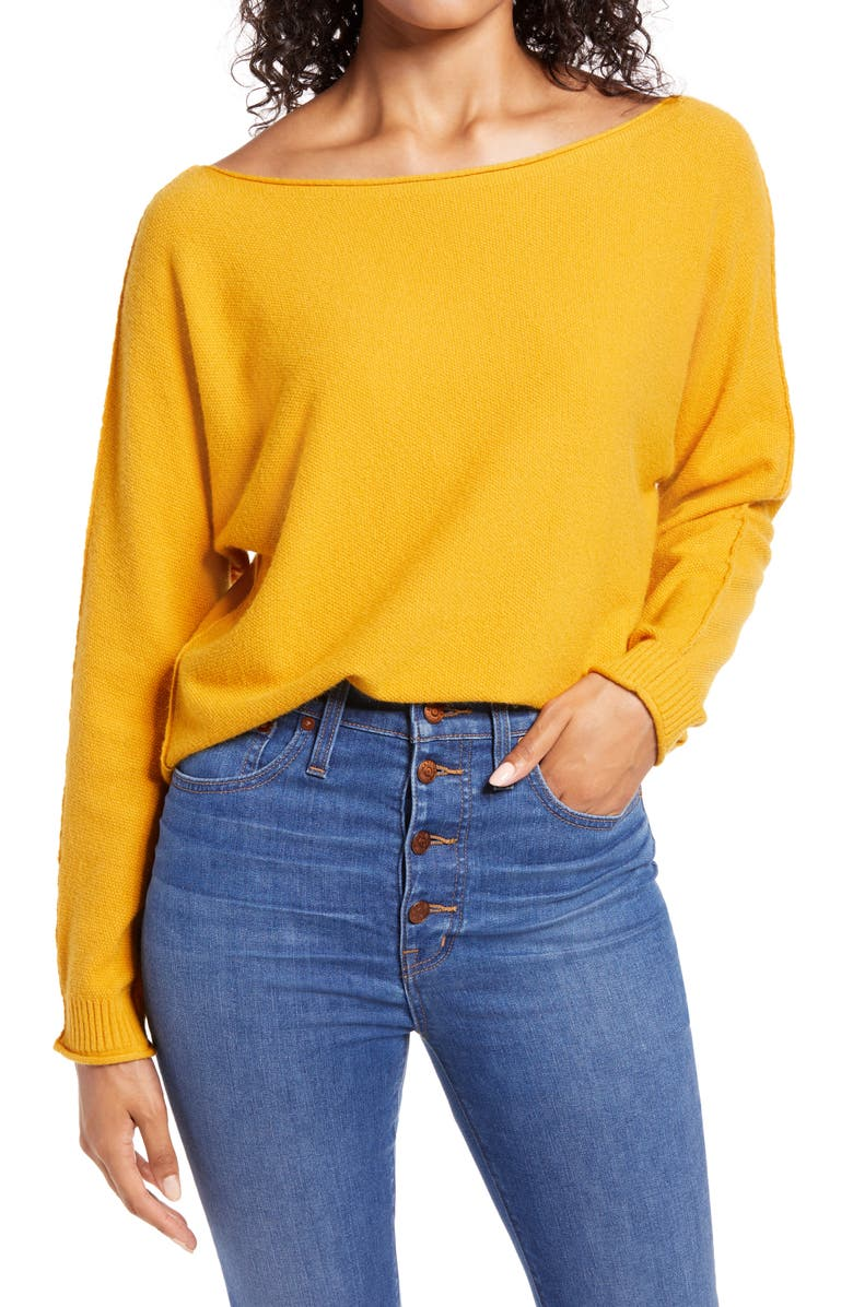 CASLON<SUP>®</SUP> Dolman Sweater, Main, color, YELLOW MINERAL