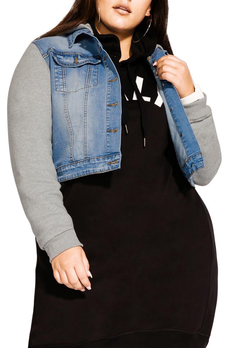 CITY CHIC Hooded Knit Sleeve Denim Jacket, Main, color, DENIM