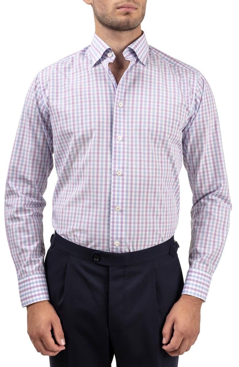 ETON Slim Fit Check Dress Shirt, Main, color, 500