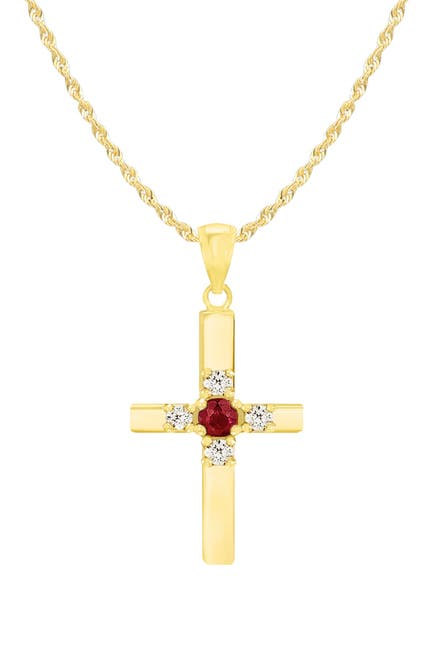 Image of Savvy Cie 14K Gold Plated Sterling Silver Ruby & White Topaz Cross Pendant Necklace