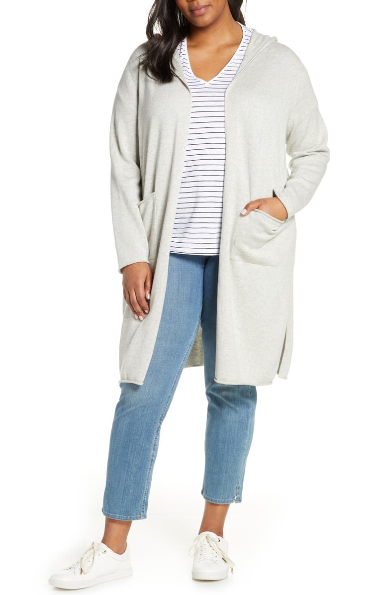 EILEEN FISHER Organic Cotton Hooded Cardigan, Main, color, 117