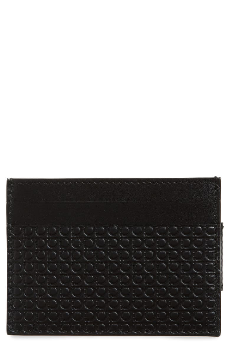 SALVATORE FERRAGAMO Money Clip Card Case, Main, color, BLACK