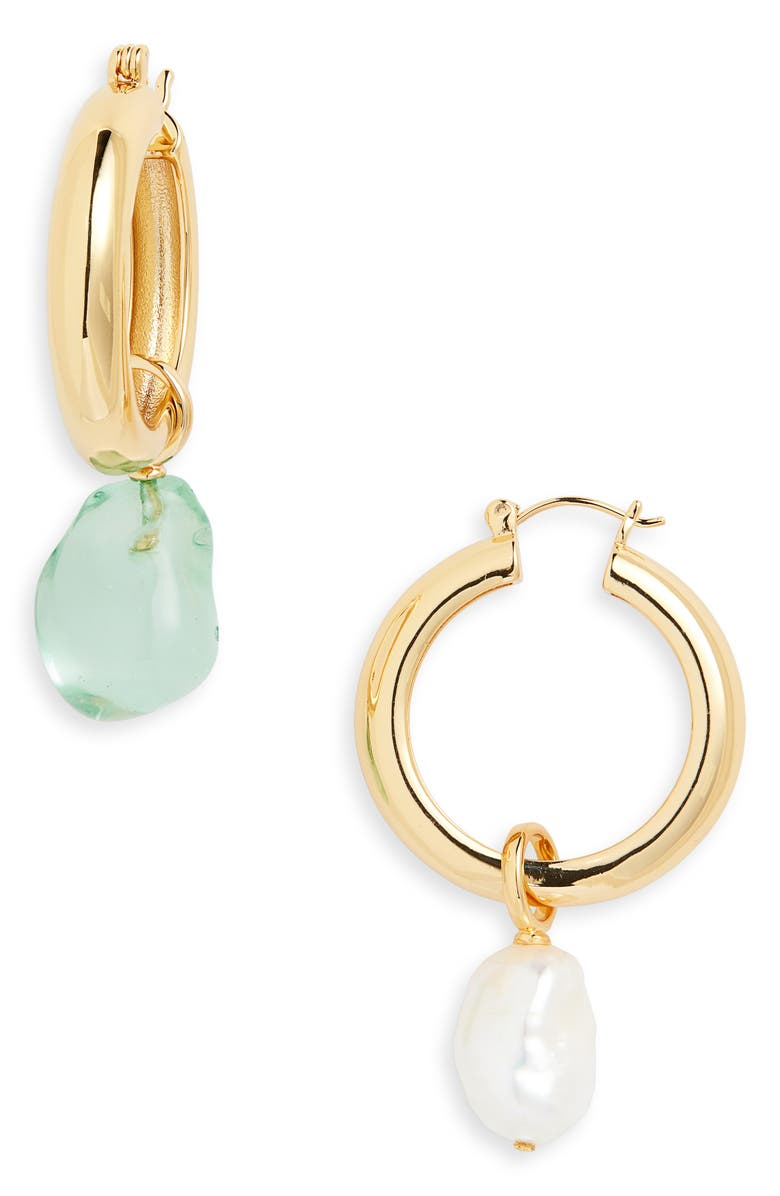 LIZZIE FORTUNATO Island Mismatched Hoop Earrings, Main, color, MOSS/ PEARL/ GOLD