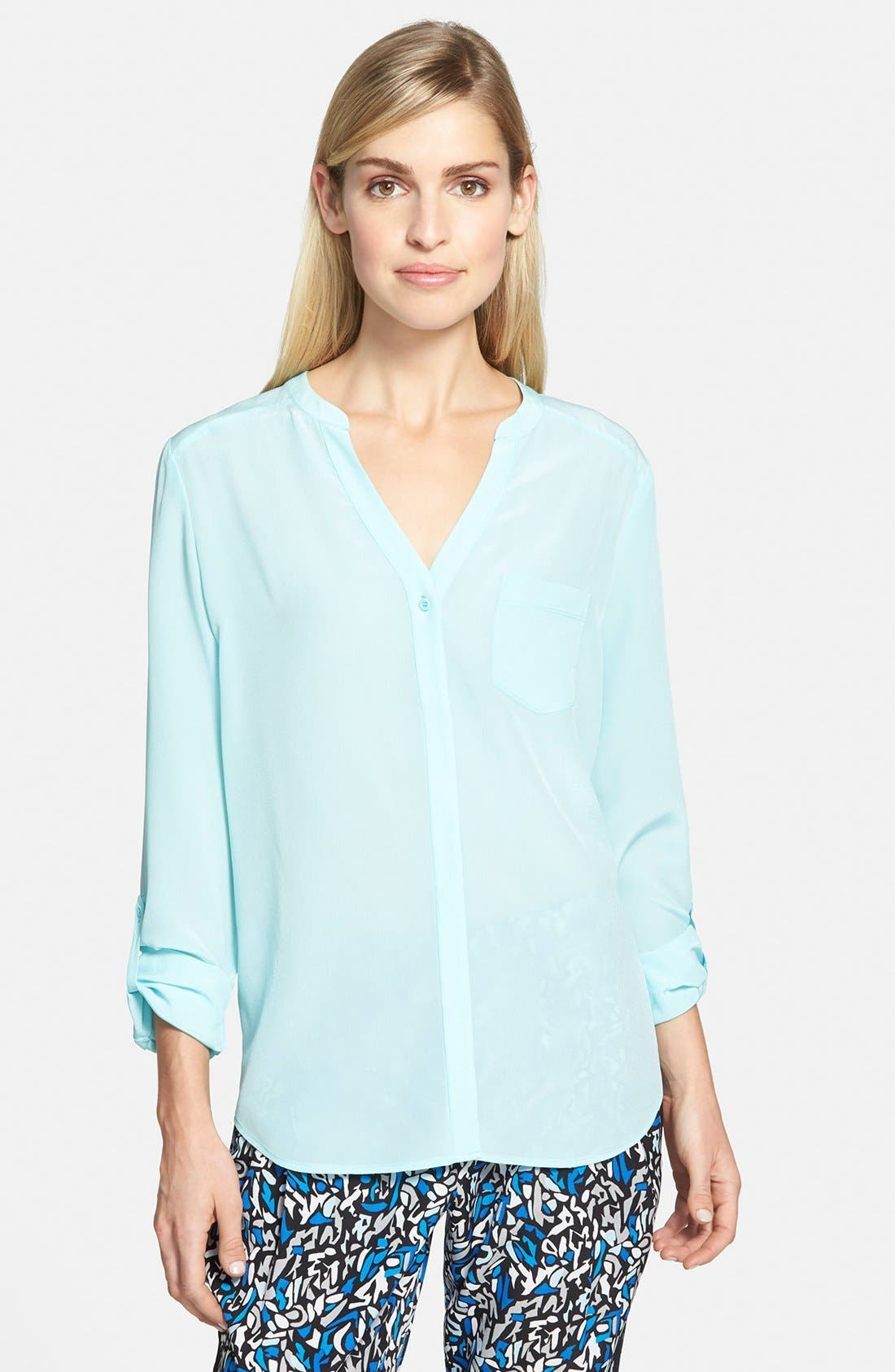 ,                             Collarless Silk Blouse,                             Main thumbnail 58, color,                             450