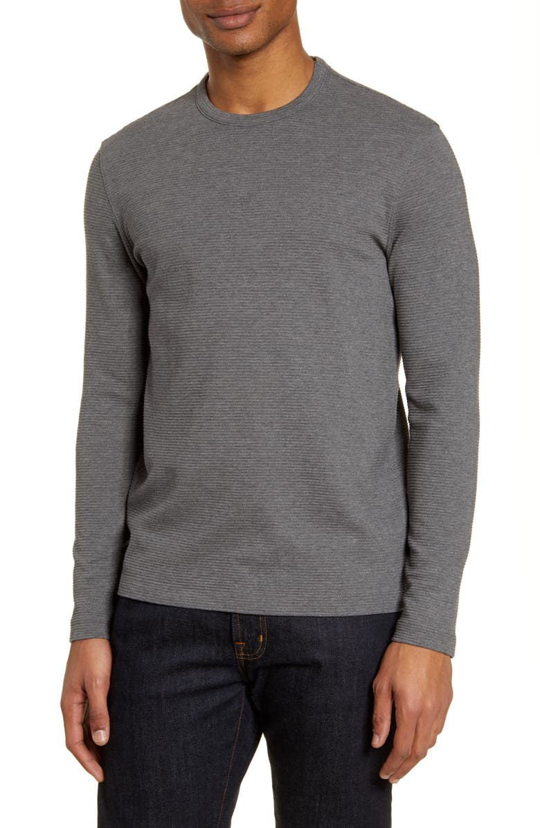 NORDSTROM MEN'S SHOP Ottoman Ribbed Long Sleeve T-Shirt, Main, color, GREY CHARCOAL HEATHER