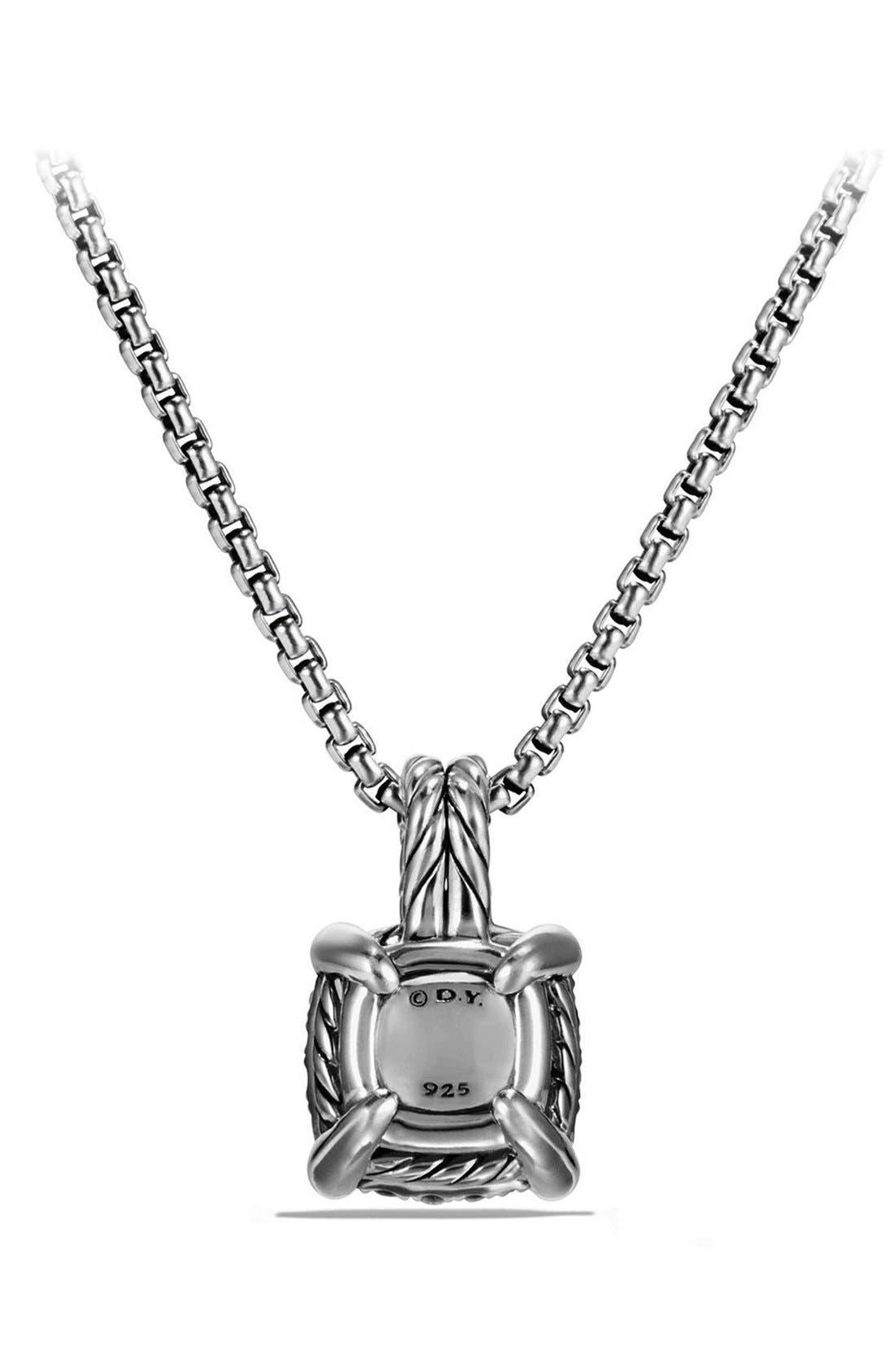 ,                             'Châtelaine' Pendant Necklace with Diamonds,                             Alternate thumbnail 3, color,                             SILVER