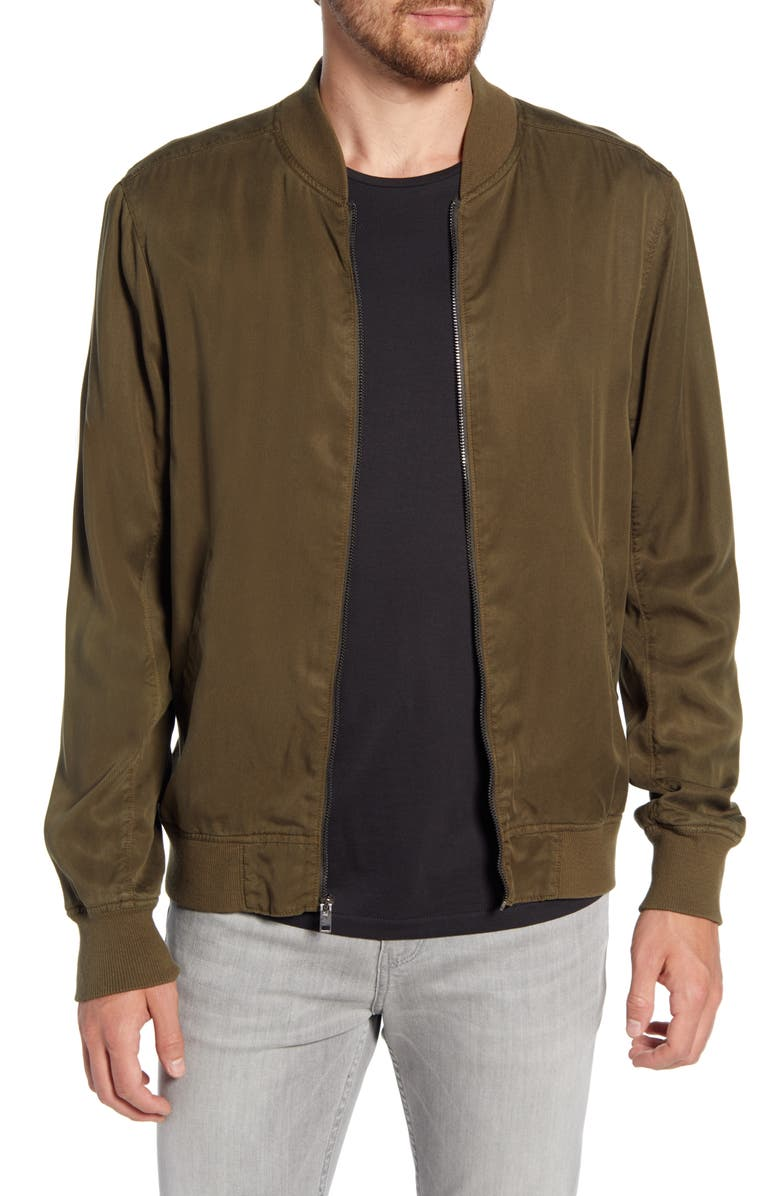 PAIGE Hayward Slim Fit Bomber Jacket, Main, color, OLIVE NIGHT