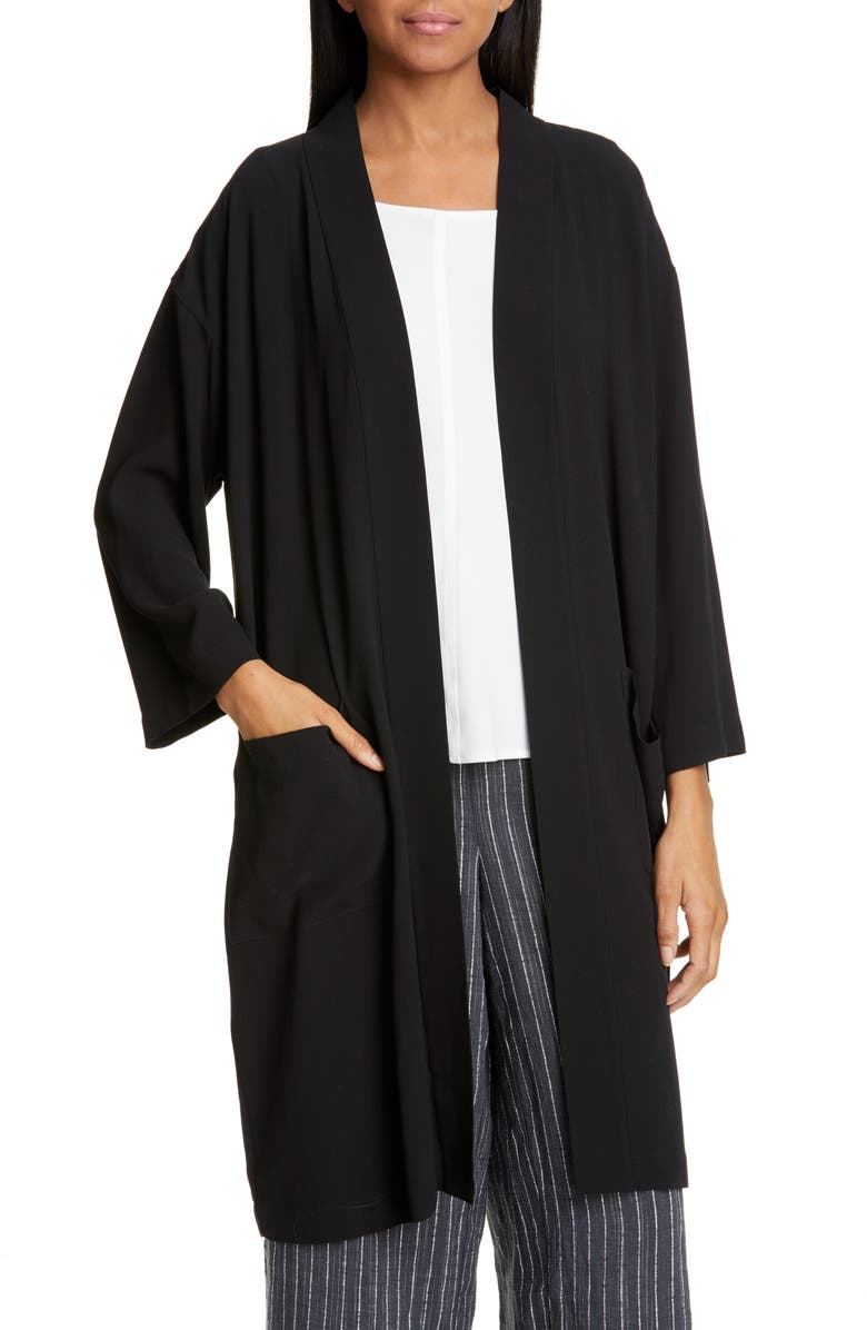 EILEEN FISHER Silk Jacket, Main, color, 001