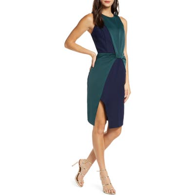 Harlyn Colorblock Drape Cocktail Dress, Blue