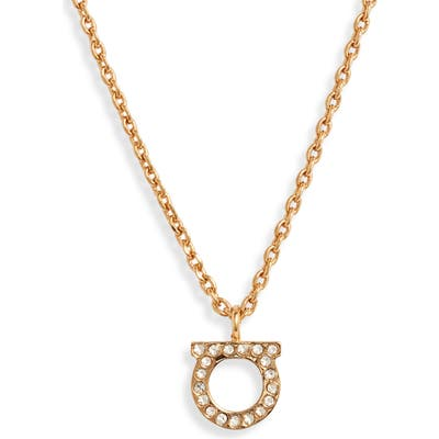 Salvatore Ferragamo Pave Gancio Pendant Necklace