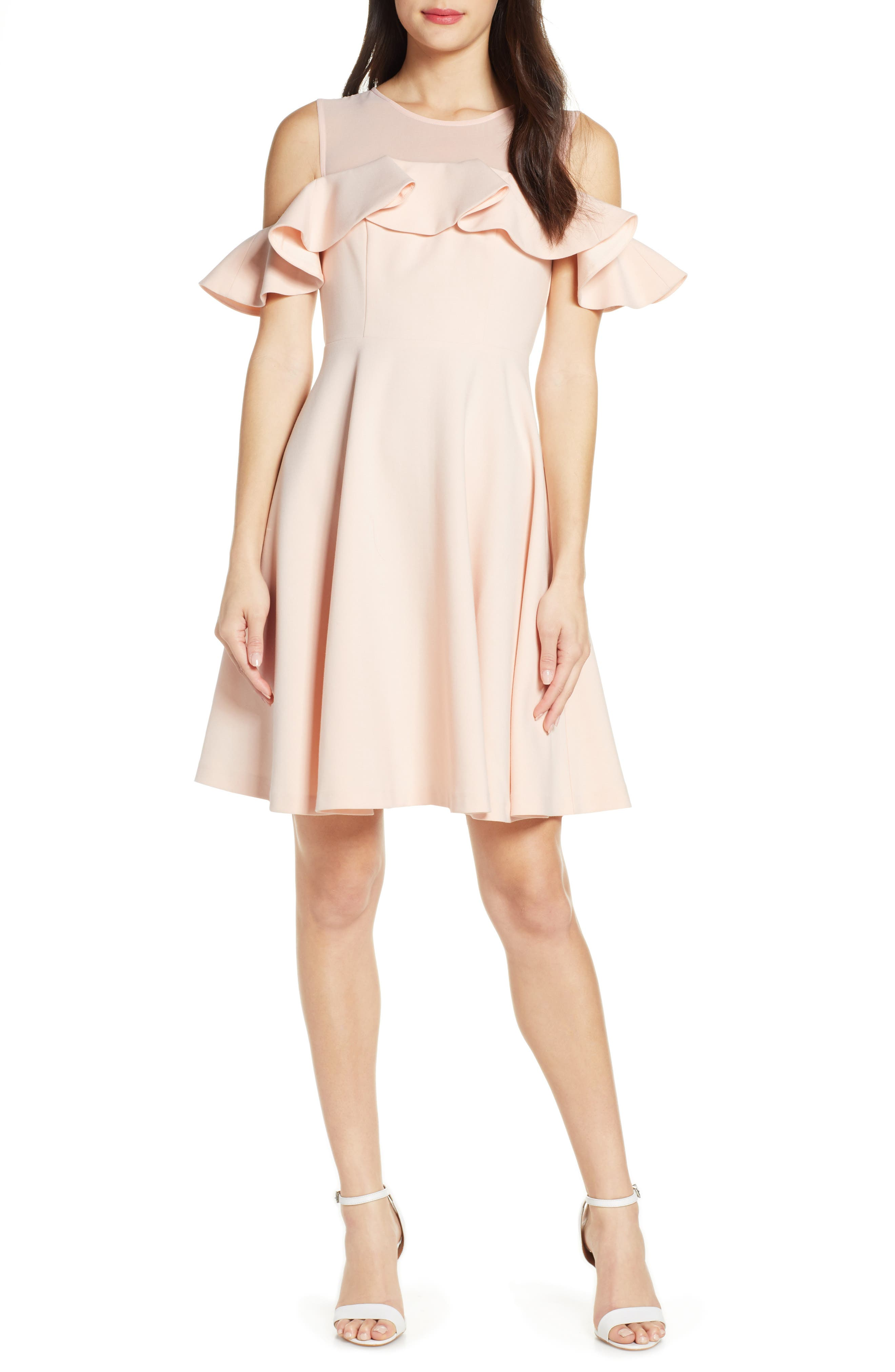 French Connection Alissa Cold Shoulder Fit & Flare Dress, Pink