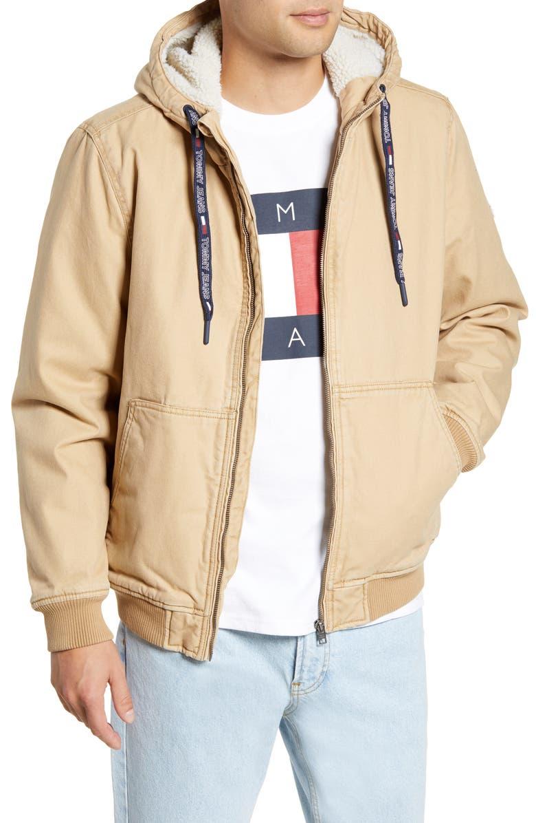 TOMMY JEANS TJM Fleece Lined Hooded Jacket, Main, color, 200
