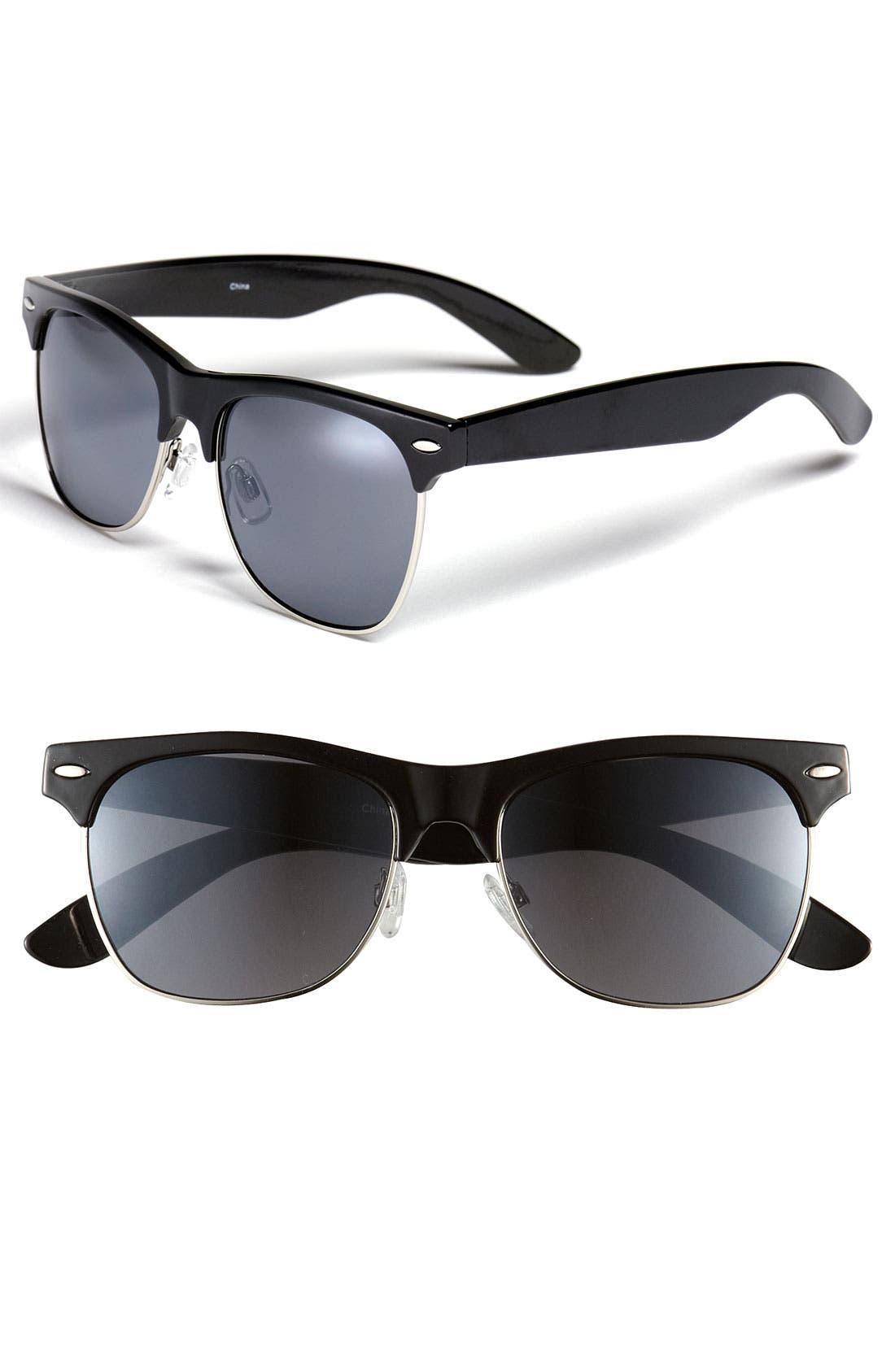 'Gloria' 53mm Retro Half Wire Frame Sunglasses, Main, color, 001