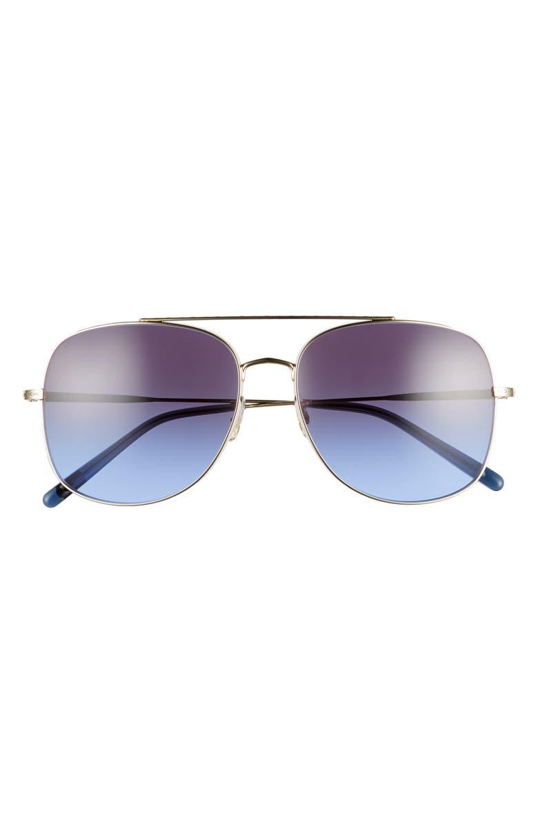 OLIVER PEOPLES Taron 58mm Gradient Aviator Sunglasses, Main, color, GOLD/ DARK GRADIENT