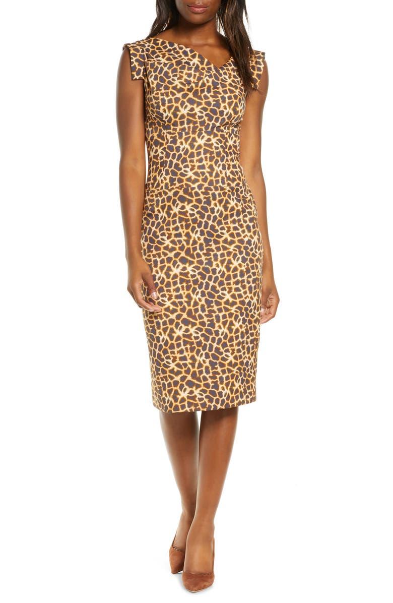 BLACK HALO Jackie O Sheath Dress, Main, color, DESERT SPOTS