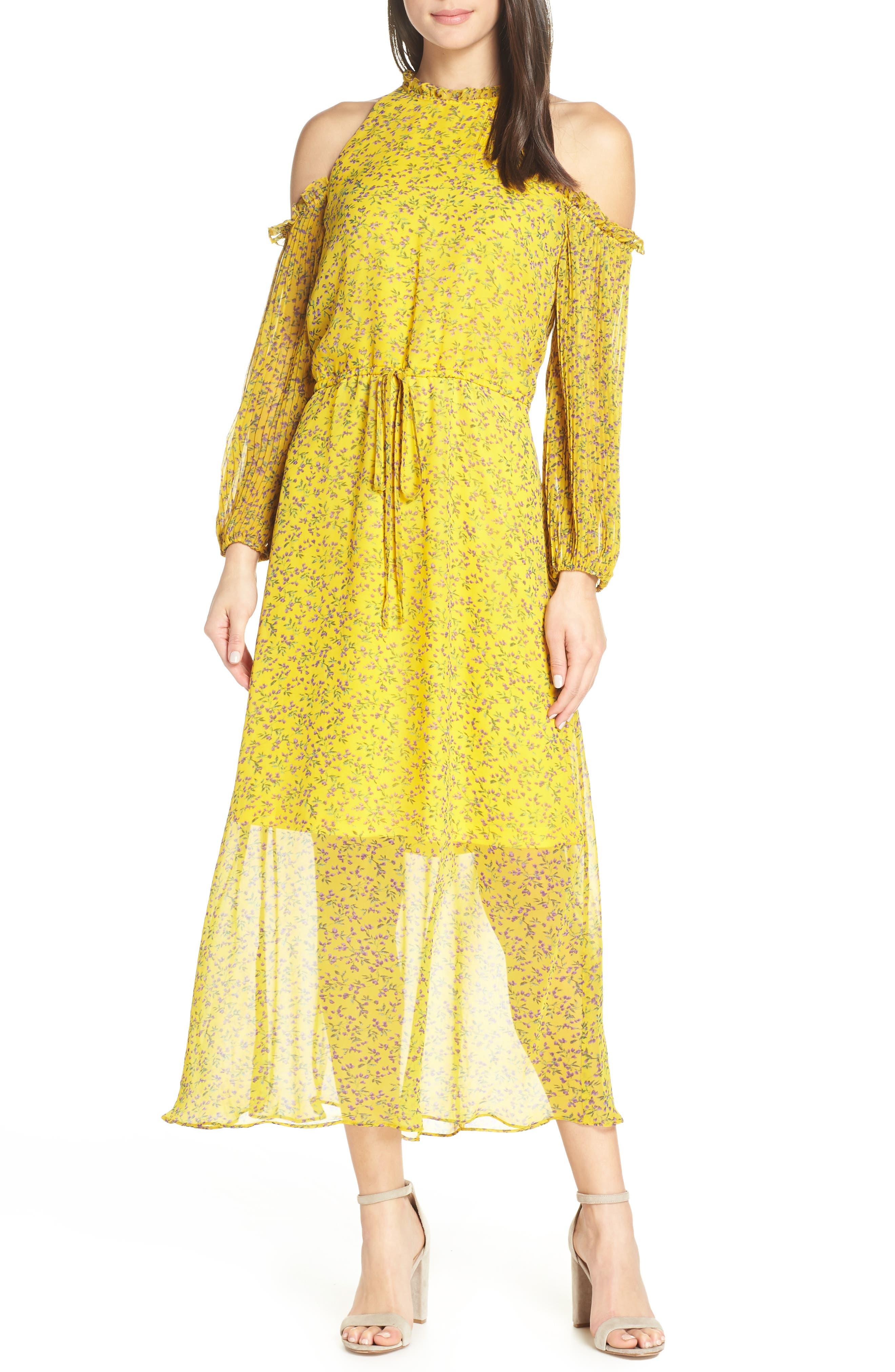 Sam Edelman Cold Shoulder Midi Dress, Yellow