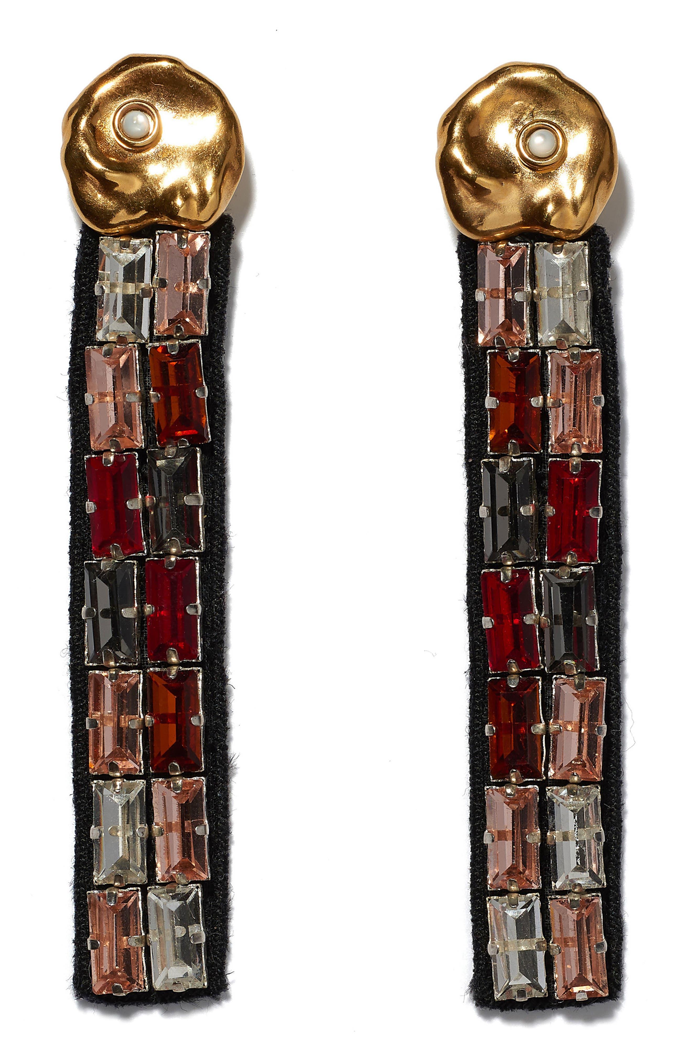 Discoteca Linear Drop Earrings, Main, color, RED MULTI