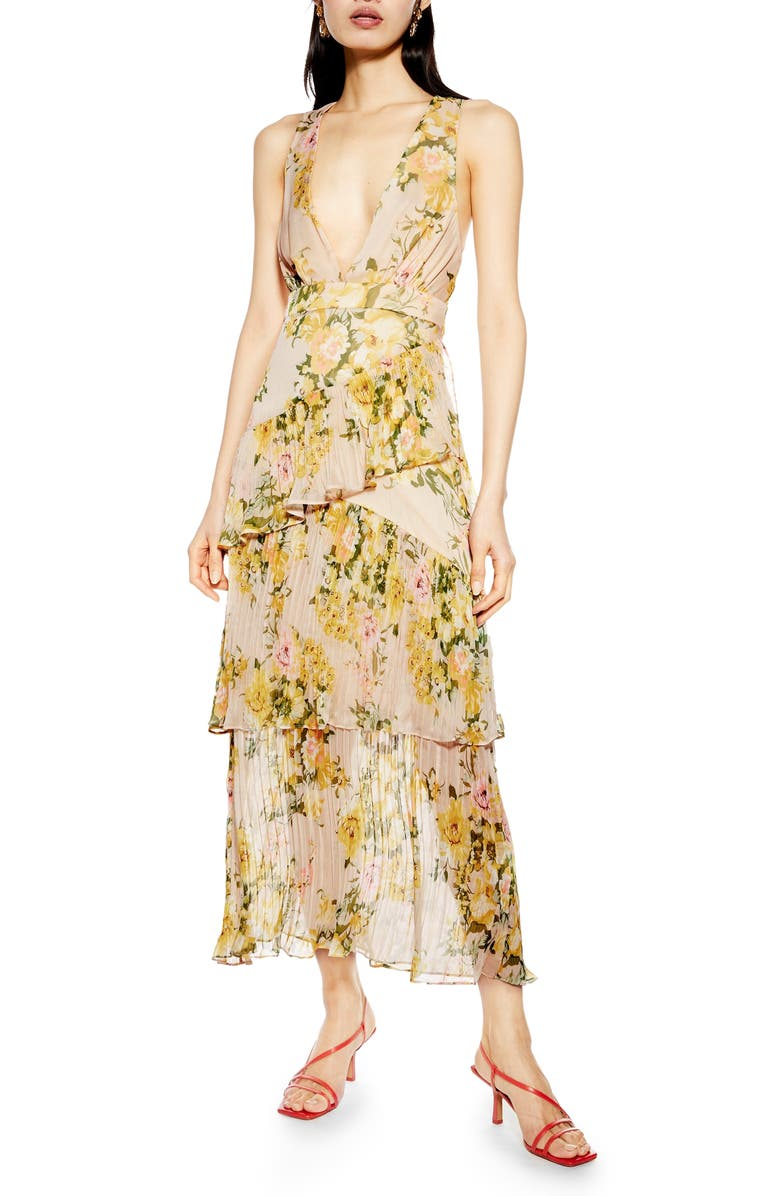 TOPSHOP Floral Print Pleated Tiered Maxi Dress, Main, color, 250