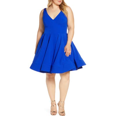 Plus Size MAC Duggal Fit & Flare Party Dress, Blue