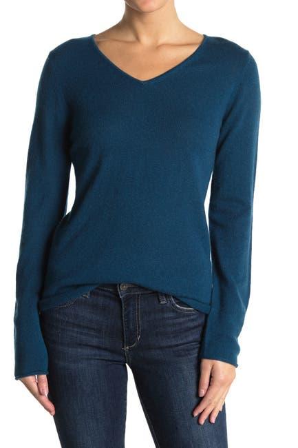 Image of 14th & Union Cashmere V-Neck Long Sleeve Sweater