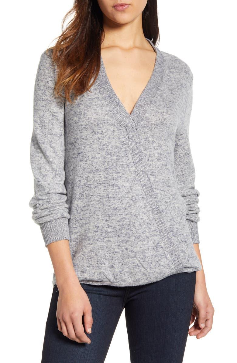 BOBEAU Cozy Heathered V-Neck Sweater, Main, color, 475