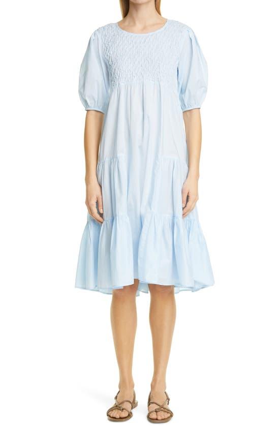 Merlette Midi dresses VALLARTA SMOCKED COTTON TIERED DRESS