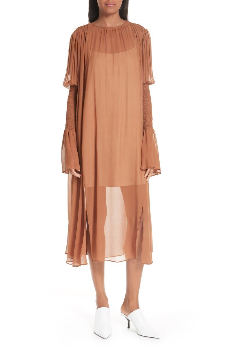 CIENNE The Costa Silk Dress, Main, color, CARAMEL