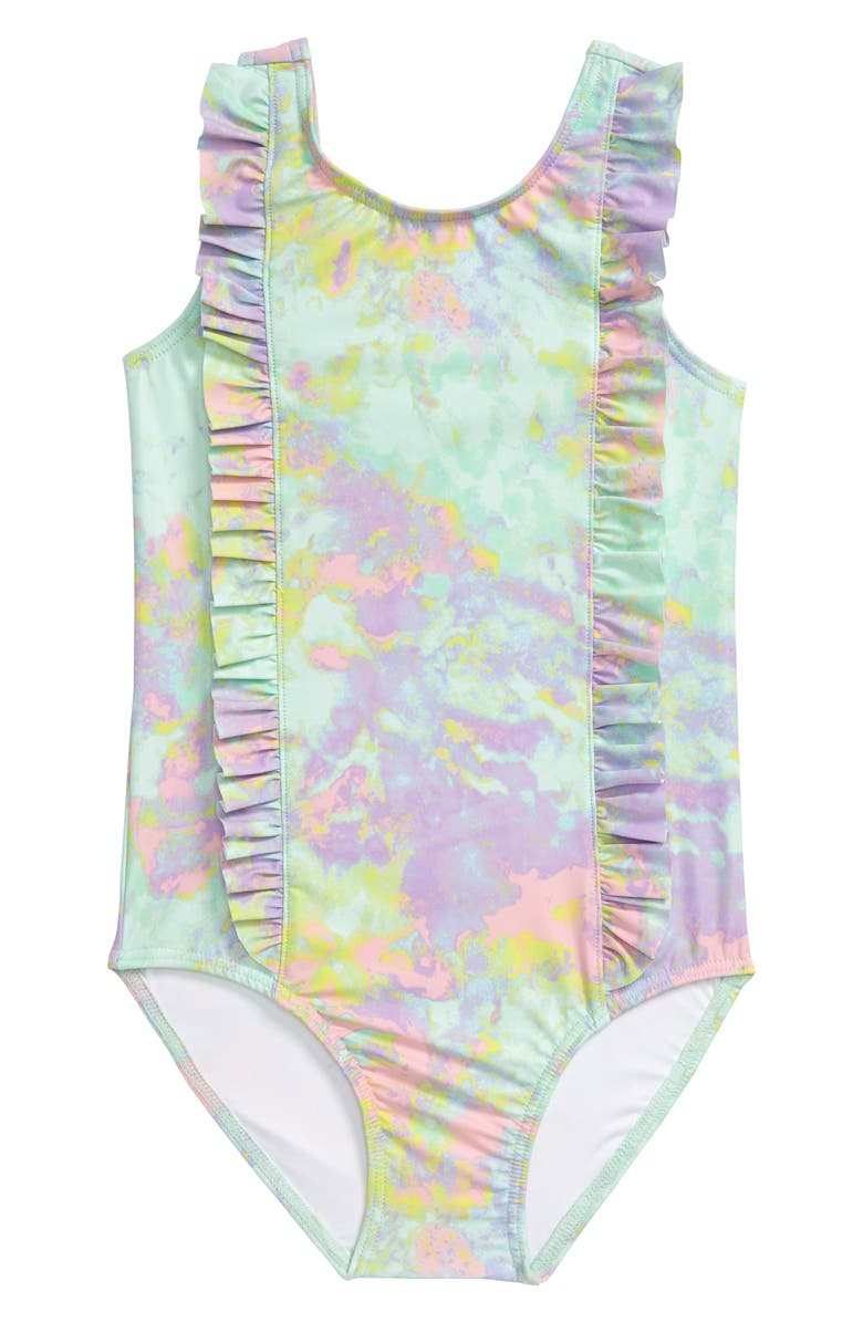 TUCKER + TATE Ruffle One-Piece Swimsuit, Main, color, TEAL DELIGHT TIE DYE
