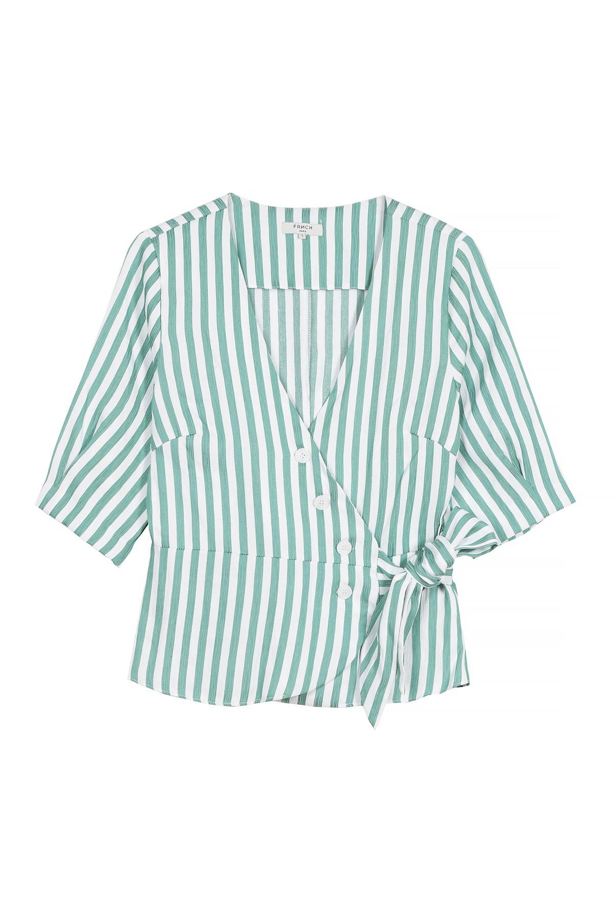 Image of FRNCH Stripe Print Side Tie Blouse