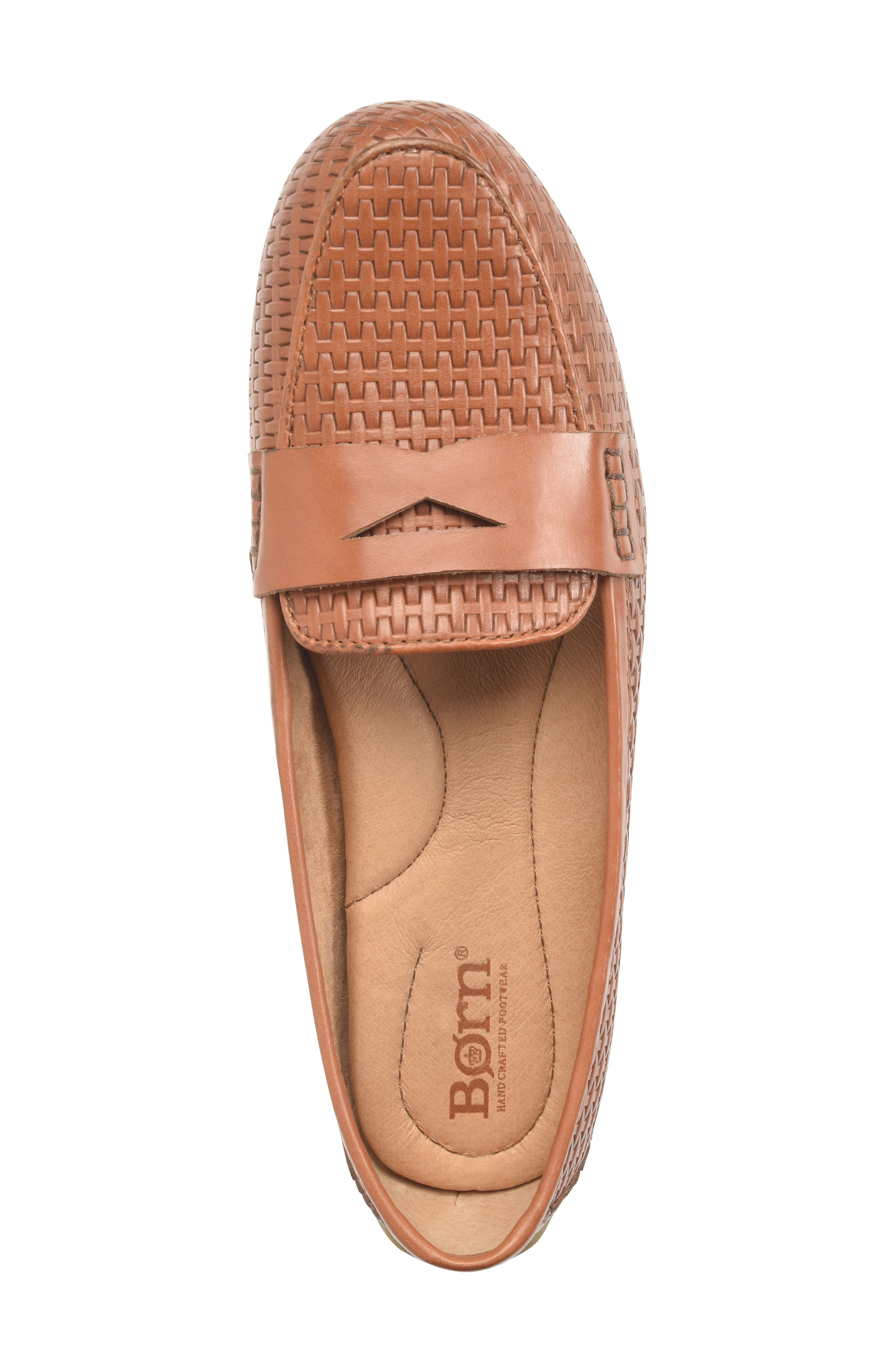 ,                             Malena Driving Loafer,                             Alternate thumbnail 5, color,                             BROWN WEAVE EMBOSSED LEATHER