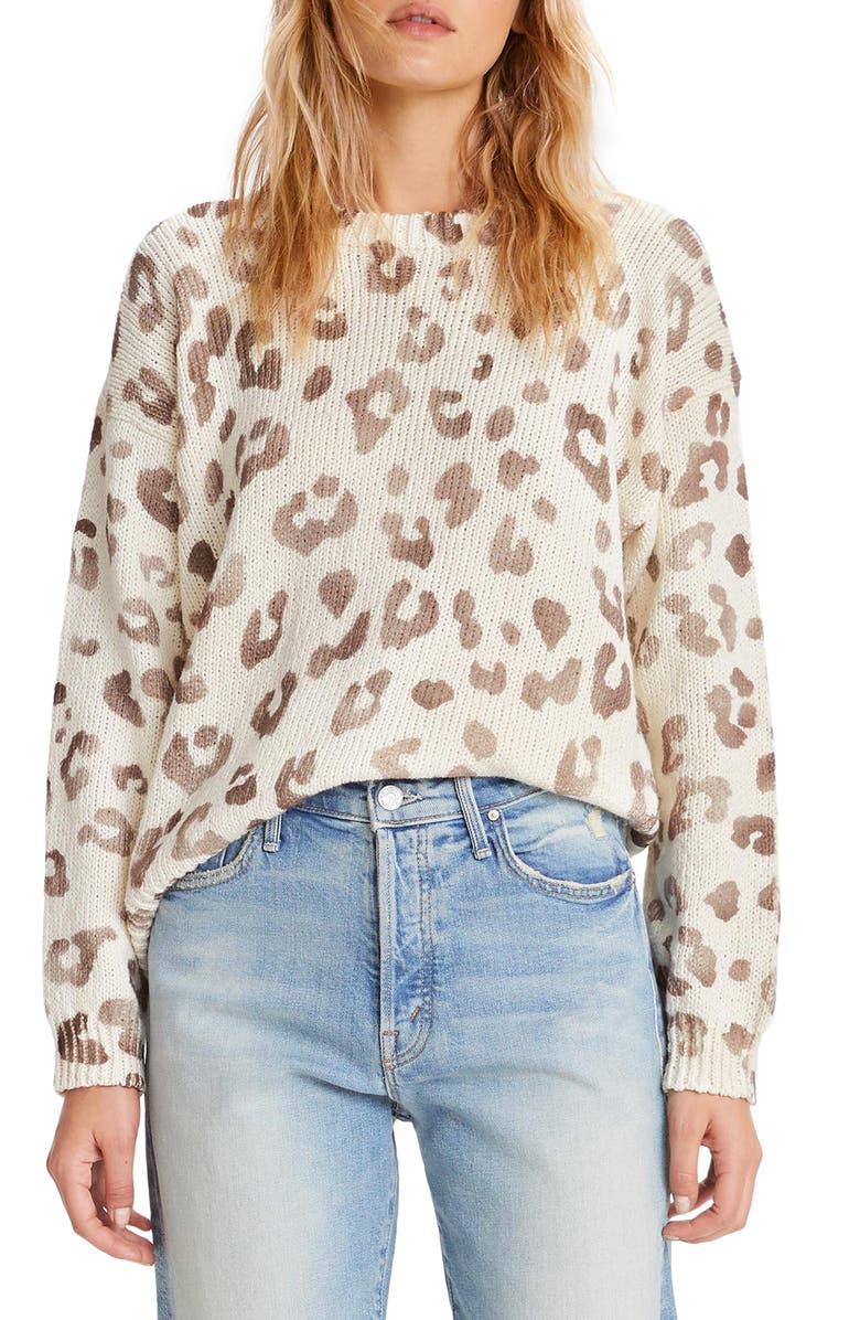 MOTHER Leopard Print Cotton Sweater, Main, color, LOOK THE PART