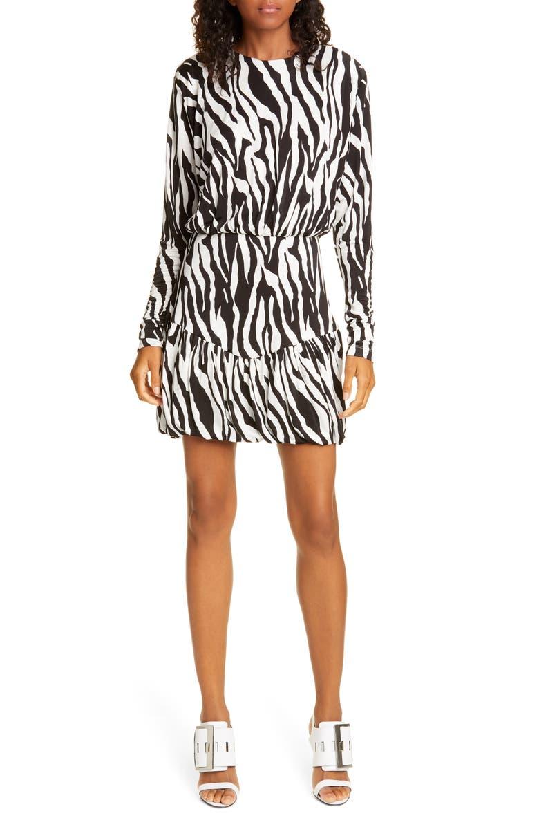 ROTATE Alina Zebra Print Long Sleeve Minidress, Main, color, BRIGHT WHITE